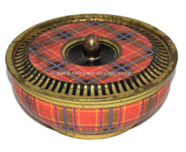 Vintage tin drum with Tartan pattern
