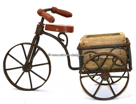 Brocant delivery bicycle with flowerpot, tricycle