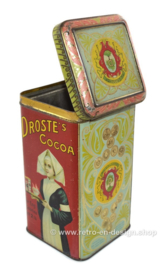 """Square tin with hinged lid, """"Droste's Cacao"""", in red and light-blue"""