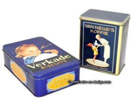 Koektrommel en koffieblik, Mmm Verkade biscuits, Van Nelle Koffie