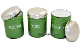 Botes de esmalte para el café, el té y el azúcar
