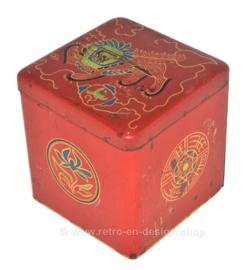 Cubo de hojalata vintage para té de Van Nelle con la imagen de un león oriental