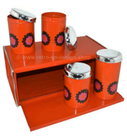 Orange bread bin and storage containers, design Patrice van Uden, brand Brabantia