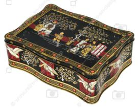 Vintage Teedose in Schwarz, Rot und Gold mit orientalischen Bildern