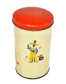 Caja de café de hojalata vintage con varias imágenes relacionadas con el transporte de granos de café