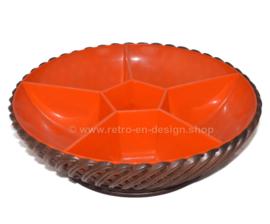 Cuenco vintage 60/70 de plástico trenzado de Emsa en marrón y naranja