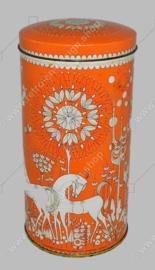 Boîte à biscottes vintage de Verkade en orange et blanc avec des chevaux, des arbres et des fleurs stylisés...