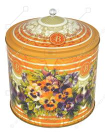 Boîte de rangement italienne colorée pour gâteau Pandoro, avec des images de violettes