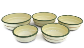 Old Brocante set of 5 enamel nesting bowls
