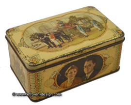 Vintage herdenkingsblik Juliana, Bernhard, gouden koets, huwelijk