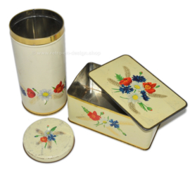 Vintage biscuit tin and rusk tin by ARK with wildflower decoration