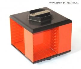 Orange/black cassette holder 70's