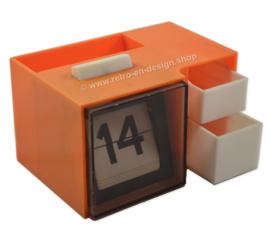 Vintage plastic desk organizer, pen holder, calendar 70s