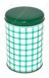 Green checkered vintage tin canister in green and white by Tomado