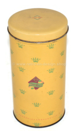 Vintage yellow cylindrical Co-op rusk tin