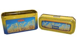 Geel/blauwe blikken doos voor Crackers van Wasa met afbeelding van rijp graan