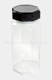 Large glass storage jar with black cap by Arcoroc France, Luminarc Octime