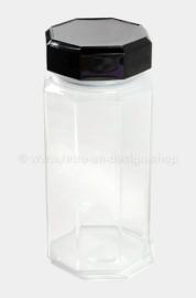 Tarro de cristal grande con tapa negra de Arcoroc France, Luminarc Octime.