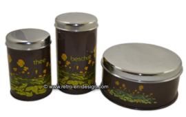 Ensemble de trés Vintage Brabantia boîtes étain par Biscuit biscottes et thé, décoration de renoncules