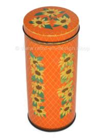 Vintage orange karierter Blechdose mit Sonnenblumen für VERKADE Biskovite Zaandam
