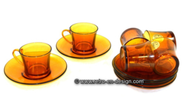 Duralex France Vintage glass espresso set 1970s