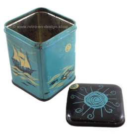"Vintage high rectangular coffee tin ""t koffiemoleken - le moulin a cafe"""