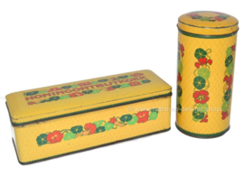 Vintage set of tins by Verkade with Indian cress