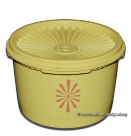 Kleine geel vintage Tupperware trommeltje met zonnedeksel h. 8 cm.