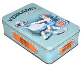 Blikken vintage koektrommel voor biscuits van Verkade met afbeelding van dansende kinderen