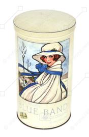 Boîte à biscottes hollandaise vintage pour Hollandsche Beschuit faite par Blue Band avec une illustration de Rie Cramer