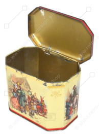 Vintage tin depicting a carriage and coachman with four horses and passengers