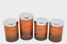 Juego de latas vintage para café, azúcar, té y bizcochos en Marrón Sombra