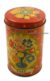 Vintage blik, voorraadbus voor thee met bloemenprint 1950 / 1959