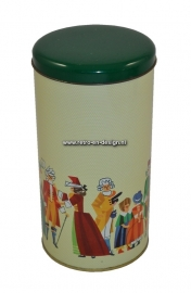 Vintage Biscuit tin with medieval costumes