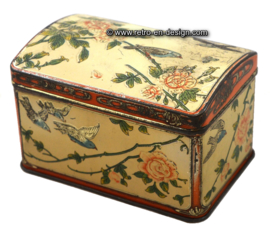 Vintage tin box with birds and roses
