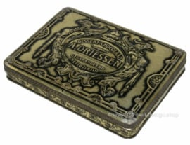 "Rectangular antique tin with hinged lid, ""A. Driessen, Dessert-chocolaad"", silver colored"