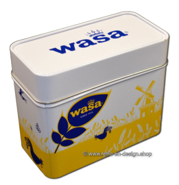 Wasa tin drum in yellow, white and blue