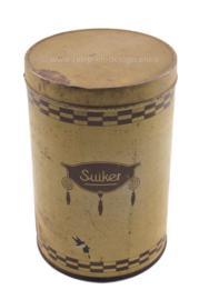 """Vintage tweetalig voorraadblik """"Suiker"""" - """"Sucre"""""""
