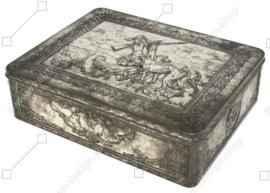 Belle grande boîte à brocante avec une scène de chasse sur le couvercle à charnière