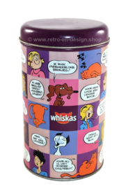 Tin made by Whiskas for kibble cat food with images of Jack, Jacky and the Juniors (Purple)