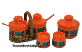 Vintage orange 70s EMSA breakfast set, Bologna