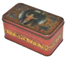 Boîte vintage de Canco, garçon d'image avec cerceau et pigeons