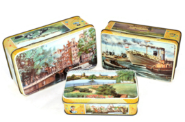 "Set van drie vintage blikken, ""De Bruin, koek"" Amsterdam, Rotterdam, Gorinchem"