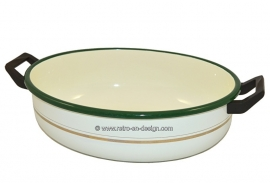 Brocant oval enamel dishpan by BK, green border, golden trim, black handles
