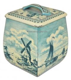 Vintage blik in Delfts blauw met molen en zeilschepen. Container made in Western Germany