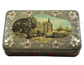 Antigua lata vintage con una imagen del castillo de Helmond.