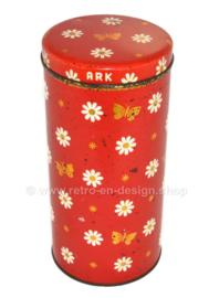Lata de galletas vintage roja hecha por ARK con flores, mariposas y estrellas
