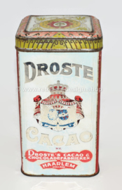 """Square Cocoa tin with hinged lid """"DROSTE'S CACAO"""" in red and light blue"""
