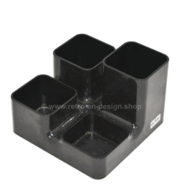 Retro pen holder, desk organizer in black plastic