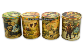 Set of four vintage seasonal tins with 'Ot and Sien' by Jamin